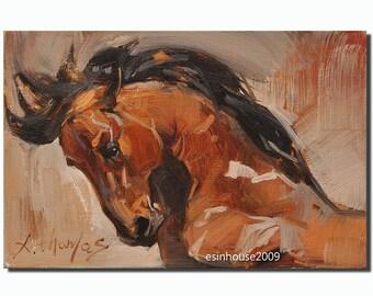 Original oil painting Horse Impressionist Animals Art 12x18cm Artist signed
