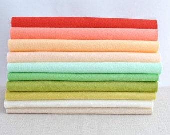 Wool Felt Sheets - 10 pieces - 'Honeysuckle' collection - 100% wool felt