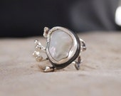 """Modern Pearl Ring -  Sterling Silver - Unique  Ring - Free Form White Pearl - Adjustable from size 4 to size 7.5 - """" Hands Collection """""""