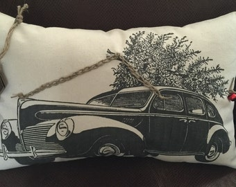 Vintage Car with Christmas Tree Pillow
