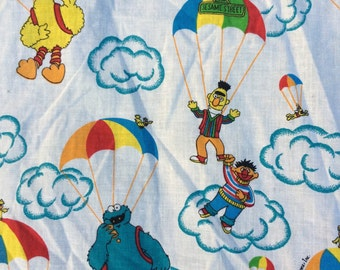 Sesame Street vintage Flat Twin Sheet, Bert and Ernie, Big Bird, Cookie Monster, soft, no stains, fabric, Jim Henson Productions