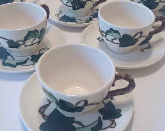6 Metlox Ivy Tea Cups and Saucer Sets, Poppytrail California Pottery, Buy 1 or All 6