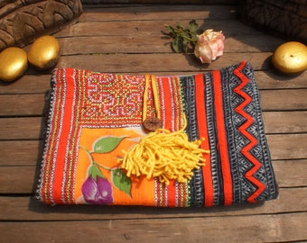 Upcycled Handmade Batik/Embroidered Hemp Tribal Textile Cluch Purse