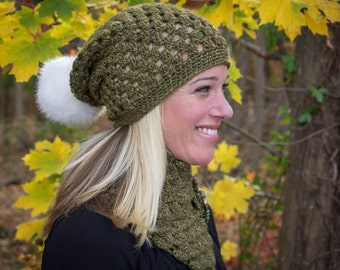 The Caitlin Slouch with pom pom-ready to ship