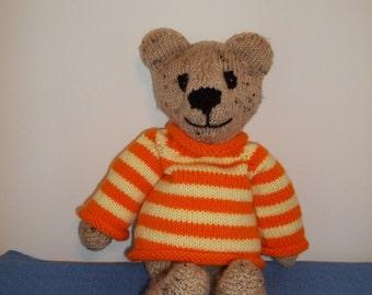 knitted Bear in Orange/Yellow Sweater