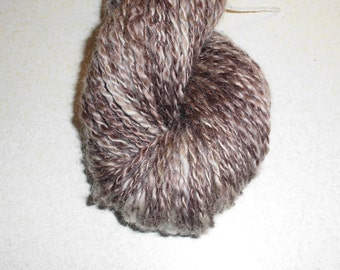 Brown Handspun, Hand Dyed, SuperWash Bluefaced Leicester Kid Mohair Sport Weight 2-Ply. Coffee and Cream  EU SELLER