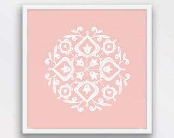 Persian Motif Print, Folk Art, Rose Quartz and White Decor, Pink Wall Art, Minimalist wall decor, Printable Art