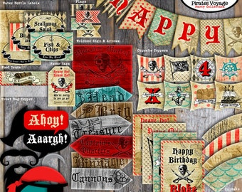 Pirate Party Decorations | Pirate Birthday Decorations | Set Kit Collection | Signs Photo Props Toppers Banner Labels Tags | Printable