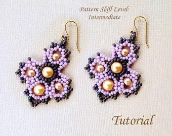 J'ADORE beaded earrings beading tutorial beadweaving pattern seed bead beadwork jewelry beadweaving tutorials beading pattern instructions