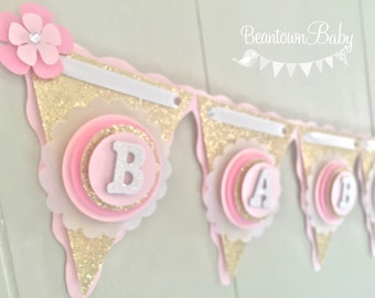 Gold Baby Shower, Baby Shower Banner, Girl Baby Shower, Pink and Gold Baby Shower Banner, Baby Shower Banner Personalized