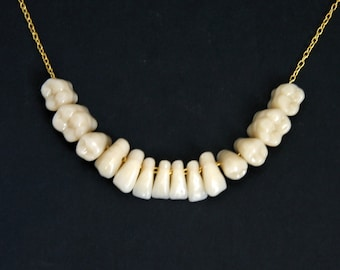 MADE To ORDER Human Teeth Tooth Necklace Pendant Gold Sterling Silver Chain Bone Medical Anatomical Art Creepy Jewelry