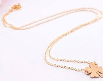 Holiday SALE 50% OFF Lucky four leaf clover necklace ... GOLD