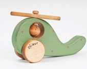 Personalized Wooden Helicopter eco-friendly kids toy with rustic ornament