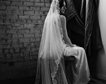Wedding Veil, Lace Veil, Floor length Chantilly Lace Mantilla, Ivory Bridal Veil -Style 2216