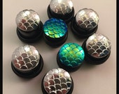 PICK SIZE Mermaid Scale Girly Ear Guages Plugs