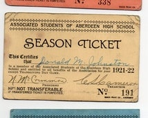 Aberdeen High School 1920s Group Of 3 Associated Students Season Tickets Antique Paper Ephemera School Education Teaching Memorabilia