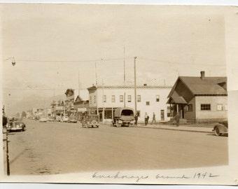 Anchorage Alaska Vintage Photo Paper Ephemera Travel Souvenir Antique Photograph Mid Century Modern 1940s Architecture Americana