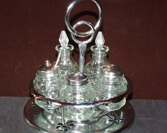 Wedding Gift! Cut Glass Cruet Table Set, Lazy-Susan style condiment Set, Salt, Pepper, Sugar, Oil, Vinegar.....