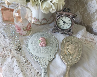 Shabby Handheld Vanity Mirror, Dressing table mirror, Pink Rose, chippy distressed, vintage insired hand mirror, shabby cottage chic