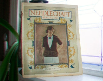 1922 Needlecraft Magazine March Issue with Large Cream Of Wheat Ad Vintage 1920s Sewing