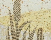 Natural Neutrals Original Collage on Canvas CATTAILS Handmade papers Home Decor