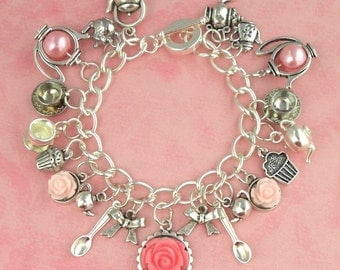 Vintage Tea Party Tea Cups & Pink Roses Charm Bracelet - Vintage Inpsired - Retro 50s Pinup Jewellery - English Mad Hatter's Tea Party