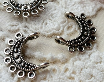 18 mm Tibetan Silver (two-Sided) Connector / Pendant (.g).