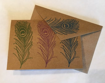 Peacock Feather Stamped Notecards - Set of 4 - Inside Blank