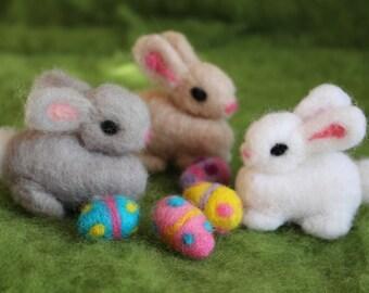 Easter Bunnies, Needle Felted Bunnies, 3 Bunnies with Easter 3 Eggs, Handmade, Waldorf Inspired