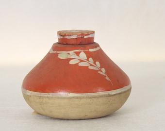 Small Old Mexican Pottery Jug with Cork Stopper Terra Cotta Creamy White Home Decor