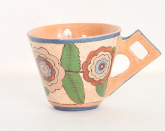 Beautiful Vintage Mexican Pottery Cup with Floral Motif