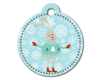 SALE Christmas Holiday Bunny Pet Tag - Dog Tags for Dogs - Custom Dog Tag for Pets, Personalized Cute Dog ID Tag, Sizes Small & Large