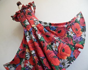 SALE :)))) FRANCE . Summer Garden . M L . Charming Bold Poppies Print Midi Dress 80s 40s 50s Style Pure Cotton Full Flare Skirt