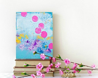 Modern Art, Original art painting, blue pink wall art, abstract painting, modern art, small art on canvas by Heroux, 8x10 Contemporary Art
