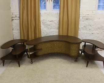 Mid Century Modern, vintage, Coffee table and end tables set, 3pcs