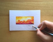 Mini Yellow + Orange Rectangle Nebula 4x6 Original Watercolor Painting