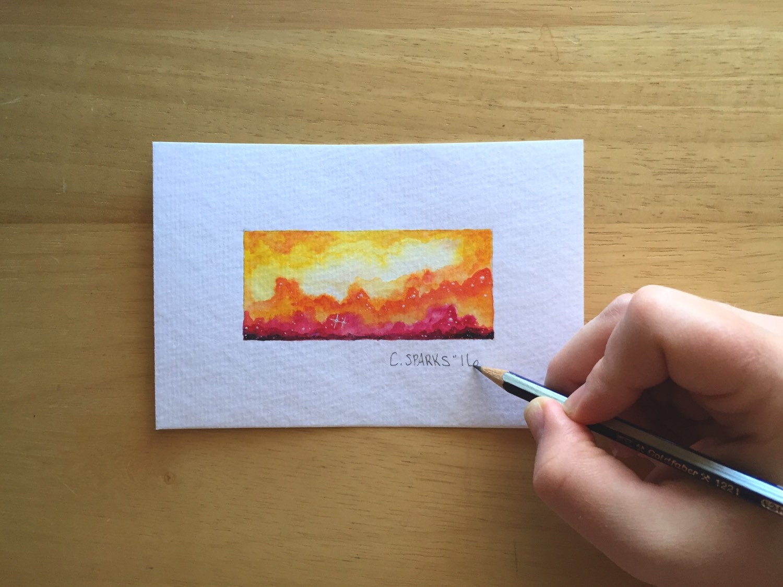 Mini Yellow Orange Rectangle Nebula 4x6 Original Watercolor