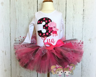 Pink poodle birthday outfit- poodle tutu outfit- paris themed tutu outfit- poodle themed birthday- pink and black tutu- 1st birthday outfit