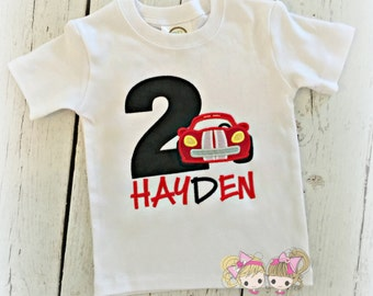 Race car birthday shirt - boys car birthday shirt - red car birthday shirt - personalized birthday shirt for boys - custom embroidery