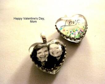 Two Sided Custom Heart Portrait Pendant, Mother's day, Easter, Mom, Handmade Pendant, wedding, anniversary, Valentine