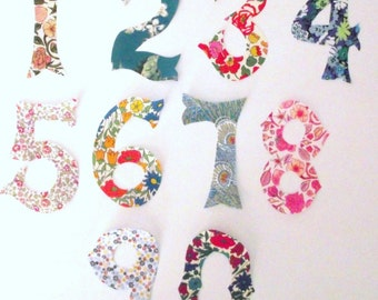Liberty of London fabric appliques ,NUMBERS, peel off backing and iron in place