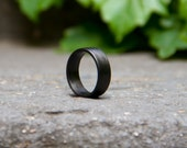 Men's carbon fiber flat ring. Unique and instrial black wedding band. Water resistant, very durable and hypoallergenic. (00101_7N)