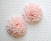 "Mini Light Pink Puff Flowers. Mini Pink Chiffon Flowers. Pink Flower. 2"". QTY: 1 Flower"