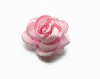 "Pink Satin Rose. 2"". Pink Satin Flowers. Small Pink Satin Flowers. You Choose Quantity."