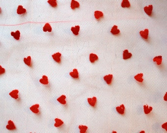 "Red Heart Print Tulle. Red Printed Tulle. 63"" Width.  1/2 Yard."