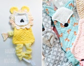 Baby toy, teether, doll, bunny, whale, fox, cotton and cottonterry, or choose minky!great for teething,