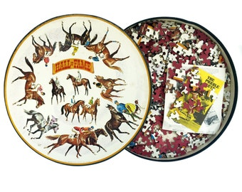 Springbok Jigsaw Puzzle The Racing Hall of Fame 1960s  Puzzle 500 Piece Round Puzzle Circular Equestrian Horse Racing Jockey