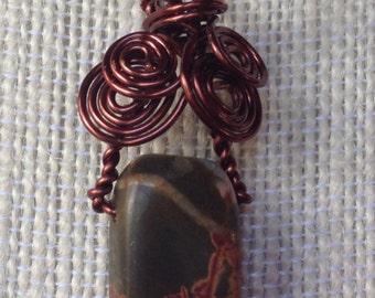Antiqued Copper Wire Wrapped Picasso Jasper Pendant (1713)