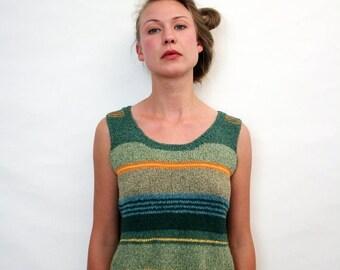 ON SALE Vintage Unique Handmade Striped Tank Summer Knit Top Sleeveless Shirt