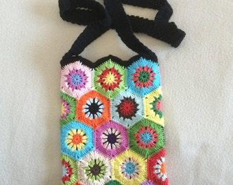 Crochet Granny Square pouch bag
